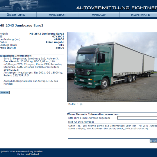 Truck selling company website
